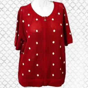 CJ Banks Red & White Polka Dot Knit Cardigan
